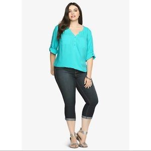 Torrid Teal Button-Tab Sleeves Challis Blouse 1X